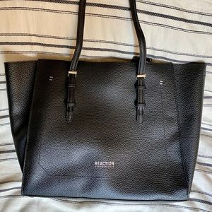 Black Textured Leather Kenneth Cole Tote Bag